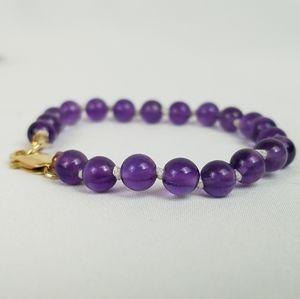 14k gold natural 6mm Amethyst Hand beaded bracelet